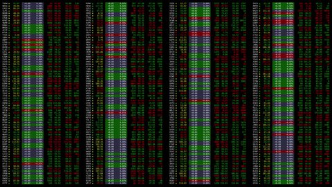 Emerging stock market trading quotes ticker board with random fictional company names. 3 updates per second. Mathematically correct simuation.