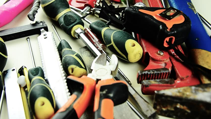 Tools. A lot of tools on the table. Tools for home repair | Shutterstock HD Video #1008769382