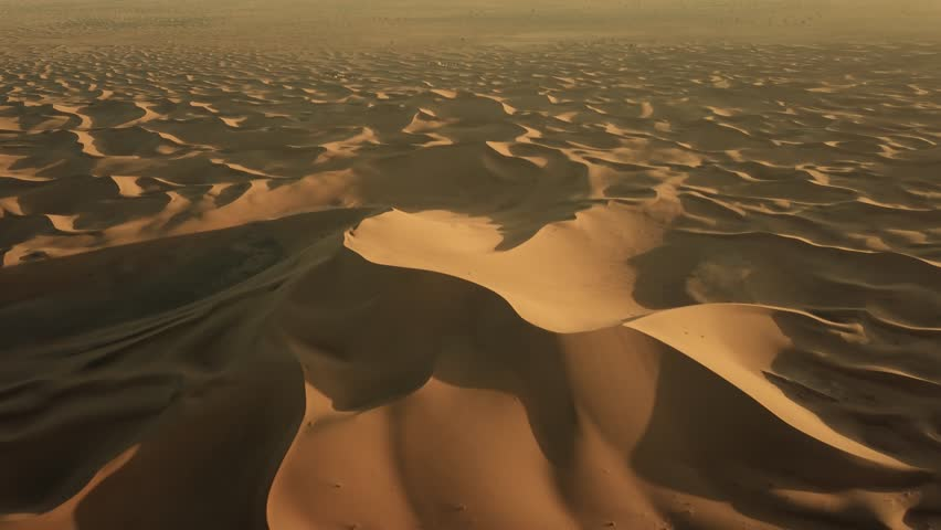 Aerial top view on sand dunes in Sahara desert, Africa, 4k