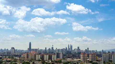 Time lapse of clear and windy day in Kuala Lumpur, capital of Malaysia. Its modern skyline is dominated by the 451m tall KLCC, a pair of glass and steel clad skyscrapers.