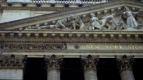 New York City, United States, Circa 2017.  New York Stock Exchange extraordinary facade. The  NYSE is located at 11 Wall Street in Lower Manhattan.