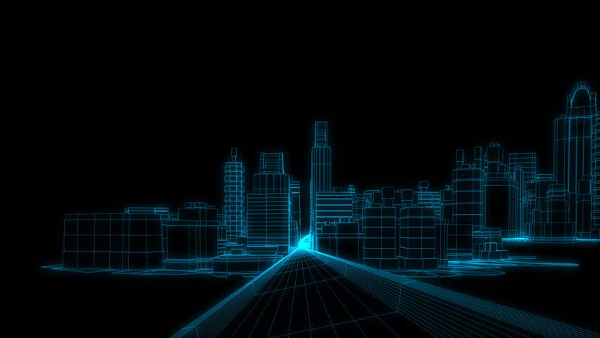 Building street running of wire frame 3D rendering ,3D Illustration
