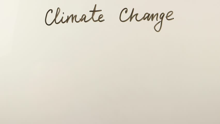 Man writes on the whiteboard the concept of climate change, methane,  nitrous  oxide and carbon dioxide formulas    | Shutterstock HD Video #1008845792