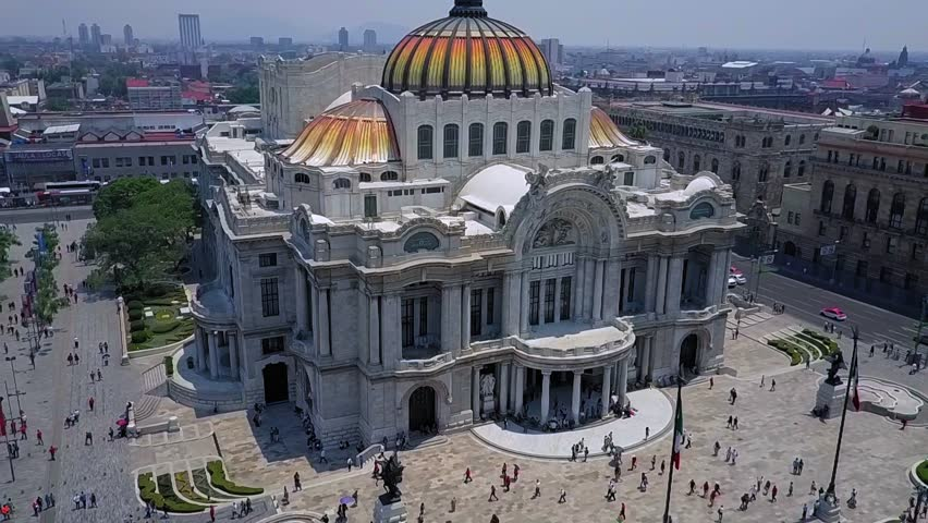Mexico City - Aerial view of the beautiful Fine Arts Palace (Palacio de Bellas Artes) of Mexico City, Mexico