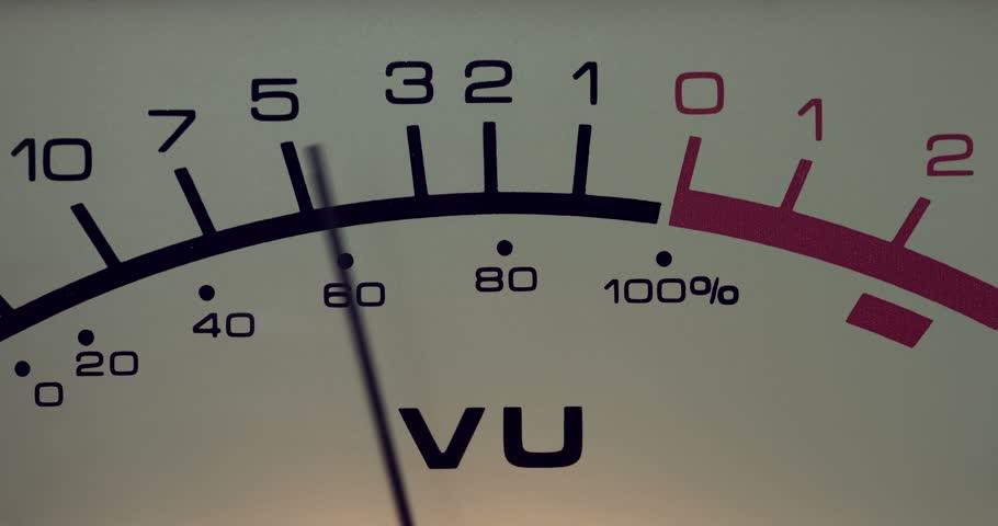 Antique analog volume meter (VU meter) - close-up