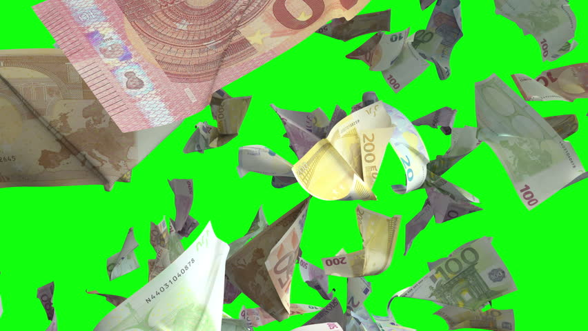 Falling Euro banknotes in Chroma Key 4K | Shutterstock HD Video #1008870542