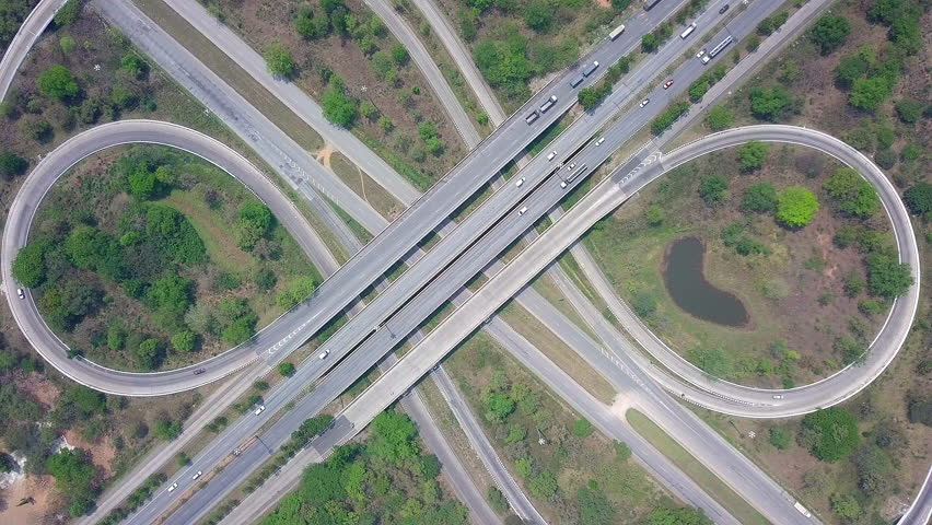 Aerial view of the expressway, motorway and highway intersection