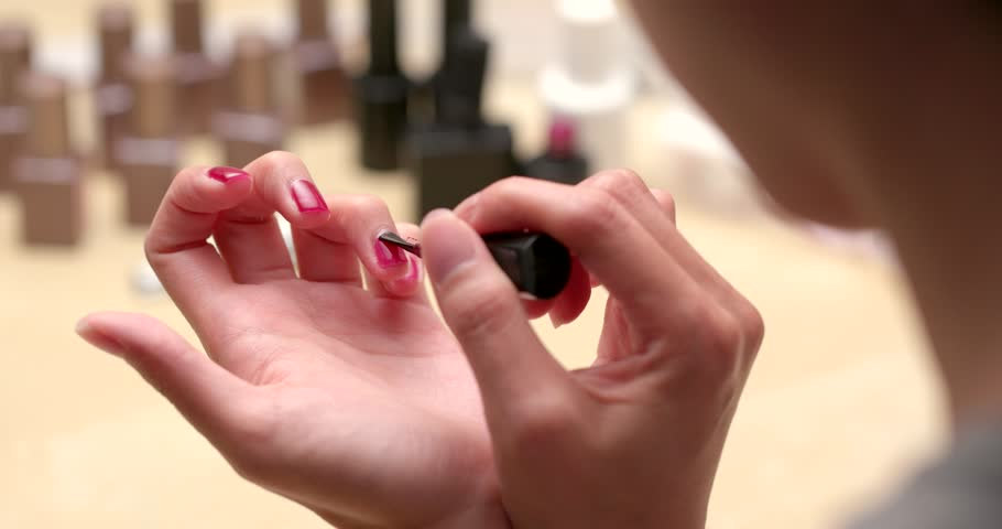 Woman Doing Gel Nail At Home Stock Footage Video 1008882839 ...