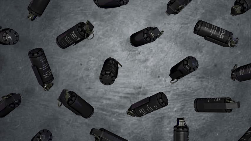 Animation of rotation, levitation of standard timed fuze hand grenades. Tear-gas hand grenades rotation on grey background. All explosives, weapon army