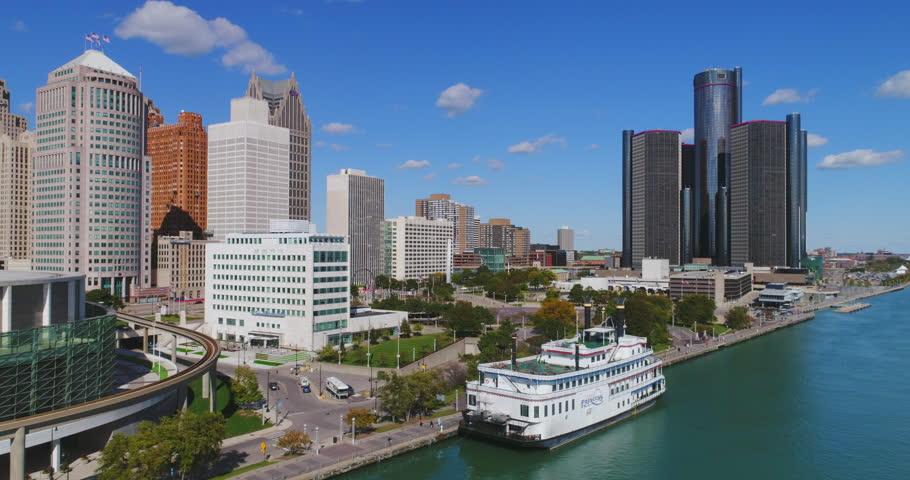 Detroit Waterfront Skyline Aerial