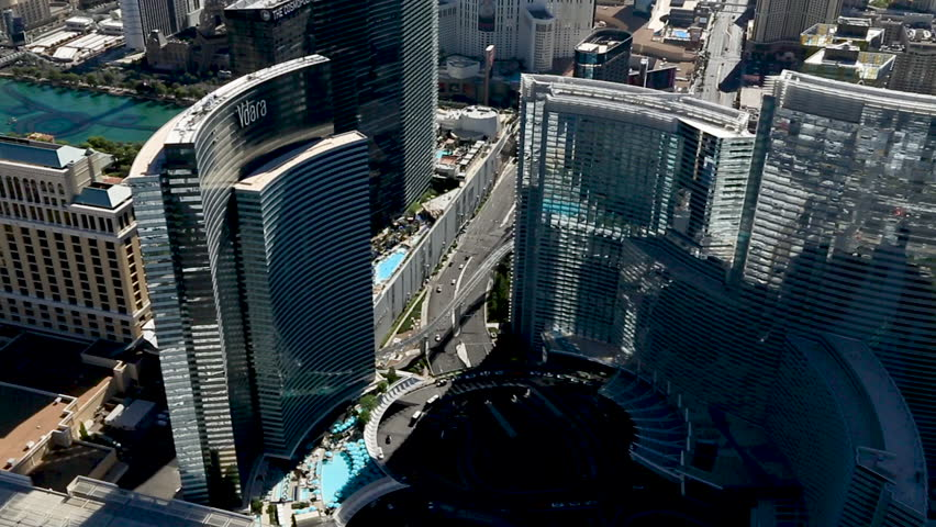 Las Vegas, USA July 2016. Aerial of the Las Vegas Strip, Panoramic showing the Vdara hotel and Aria Resort and casino.