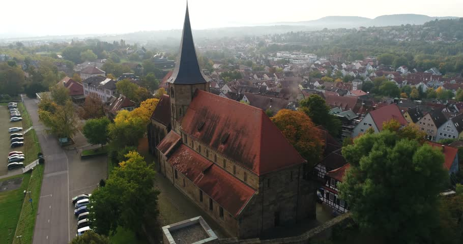 Panorama view from dlying copter over the beautiful rustic city Weinsberg in Heilbronn district in Germany. 4k footage. | Shutterstock HD Video #1008905402