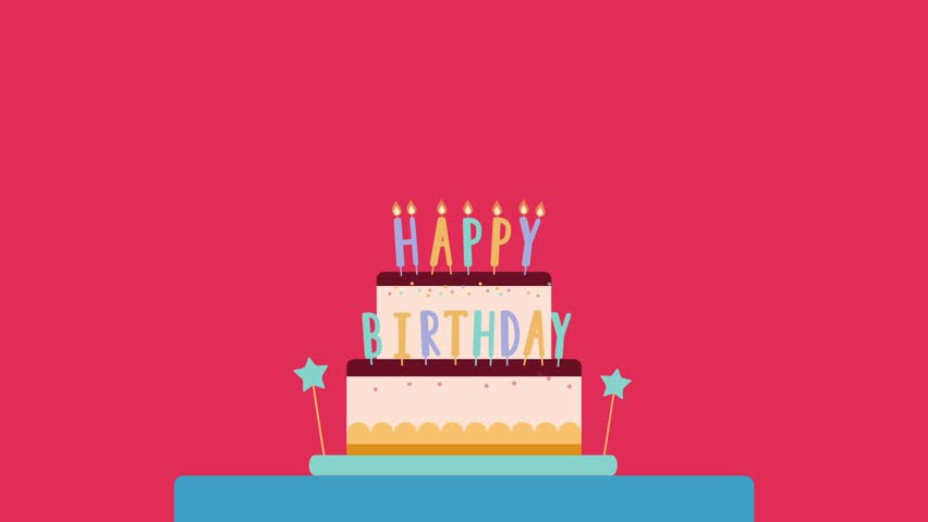 Happy Birthday Animated Greeting Card Cake With Candles And Bengal Lights Flat Illustration Motion Design