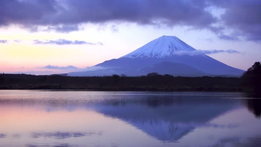 Morning glow of Mount Fuji at lake Shouji, Japan.