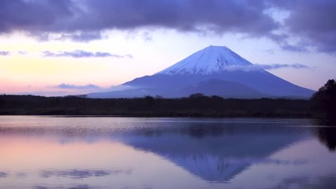 Morning glow of Mount Fuji at lake Shouji, Japan.