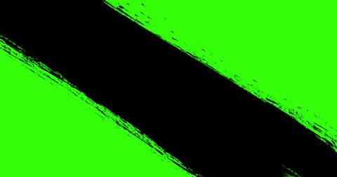 multi abstract splash ink paint brush horizontal and oblique stroke black transition on chroma key green screen background, animation of paint splash