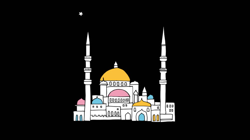 Hand drawn arab town and mosque with glittering moon and stars.  Loopable festive graphic animation for Muslim holiday Ramadan Kareem.