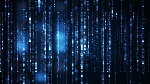 Columns of blue HEX digital symbols. Futuristic big data information technology concept. Computer generated seamless loop animation 4k (4096x2304)