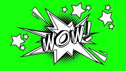 Comic animated word wow. Green screen
