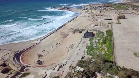 Aerial footage of the ancient remains of the coastal city of Caesarea, built under Herod the Great during 22–10 BC