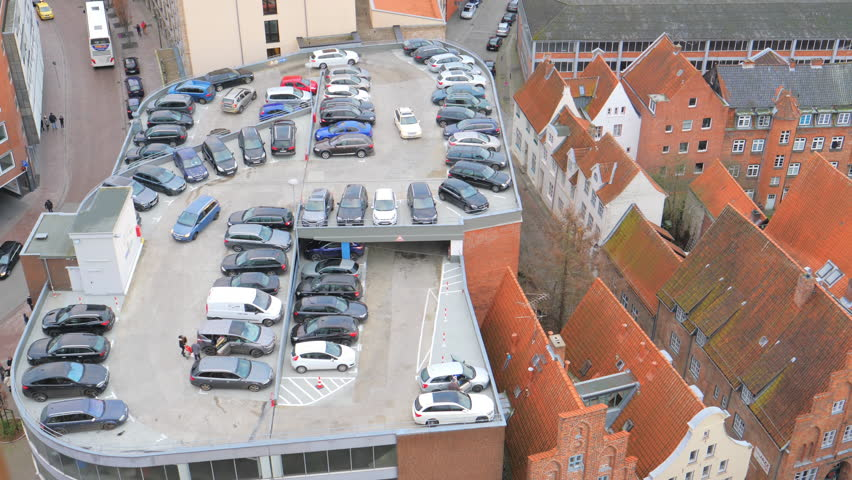 Aerial view of Lubeck urban architecture and parking, Germany