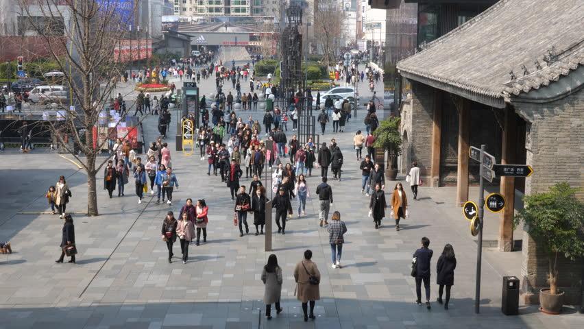 Chengdu Mar 1,2018:  people walking in the Taikoo Li in Chengdu Sichuan China.