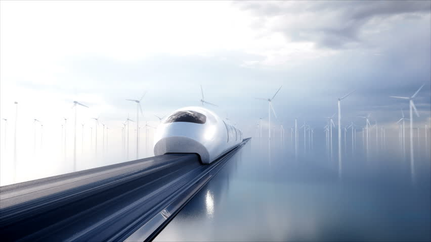 Speedly Futuristic monorail train . Concept of future. People and robots. Water and wind energy. Realistic 4K animation. | Shutterstock HD Video #1009024892