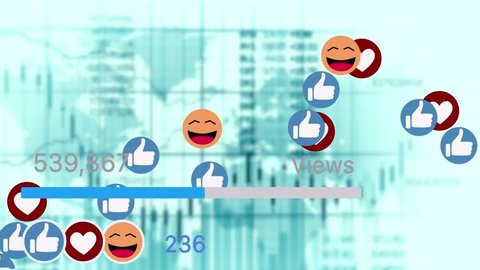 Video Counter Bar Graphic Showing Progess of Views and Likes on Social Media