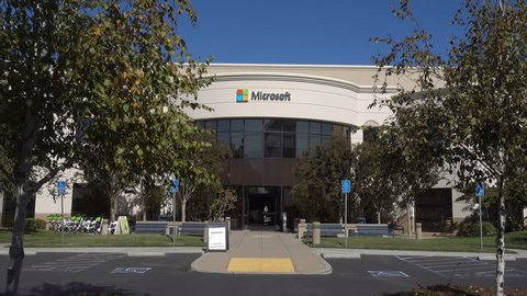 MOUNTAIN VIEW, CALIFORNIA/USA - OCTOBER 23, 2017: Microsoft headquarters and logo, Mountain View, Silicon Valley. Microsoft was founded by Paul Allen and Bill Gates in 1975