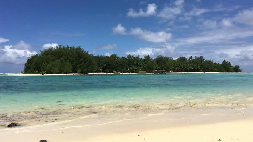 Landscape view of Koromiri islet in Muri Lagoon in Rarotonga, Cook Islands. | Shutterstock HD Video #1009073372