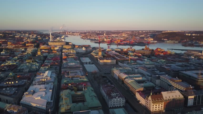 4k Drone footage - Beautiful cityscape of Gothenburg Sweden at sunrise