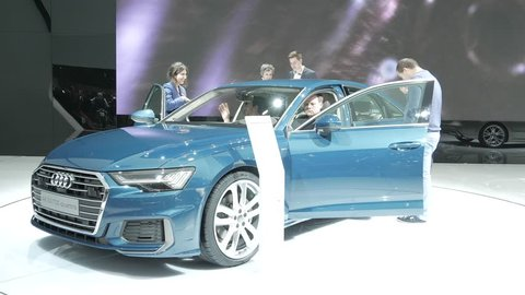 Geneva, Switzerland, March 06, 2018: metallic caribbean blue Audi A6 Limousine 50 TDI quattro at 88th Geneva International Motor Show GIMS, produced by German automobile manufacturer Audi AG