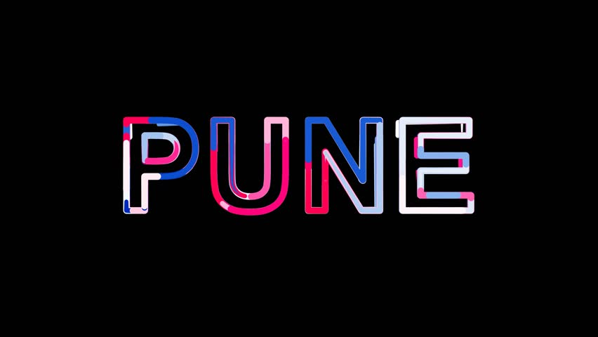 Letters are collected in city PUNE, then scattered into strips. Alpha channel Premultiplied - Matted with color black