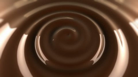 Swirl in coffee surface. Animation waving surface of hot chocolate.