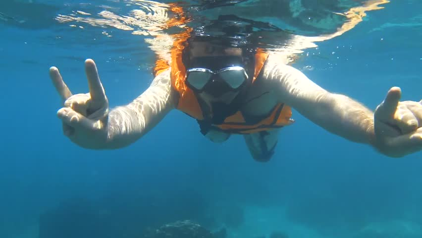 Young Man Snorkeling Underwater View | Shutterstock HD Video #1009199372