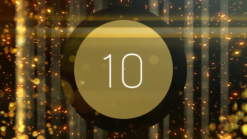 Golden particles countdown from 10 to 1. Useful for top ten list review videos. Not realtime. Each number fades to black so can be edited easily. Perfect for movie awards or celebrity star lists.
