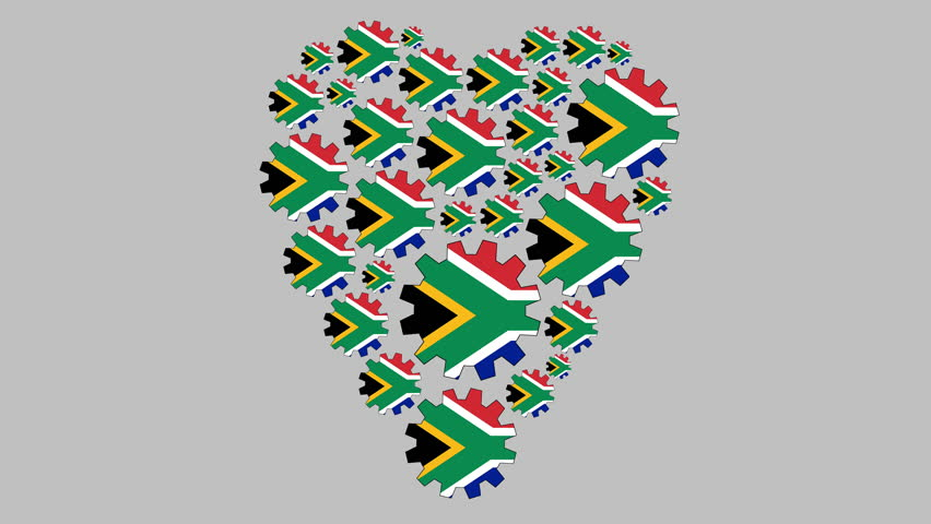 Gears with the south african flag shaping heart