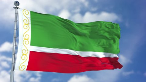 Chechen Republic Flag in a Blue Sky. Use this clip loud and proud to express loyalty and love to our country. It is a seamless loop with luma channel.