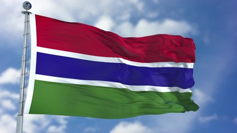 Gambia Flag in a Blue Sky. Use this clip loud and proud to express loyalty and love to our country. It is a seamless loop with luma channel.
