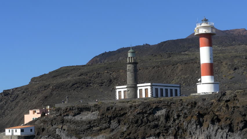 The lighthouses at Fuencaliente. The Salinas are salt apns used to make sea salt. | Shutterstock HD Video #1009274012