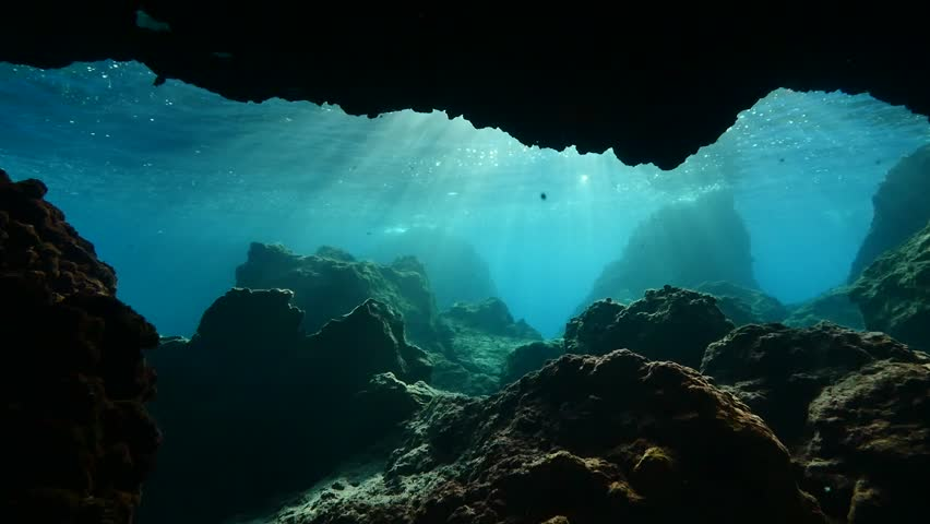 Underwater caves and tunnels with nice lightning  sun rays and sun beams