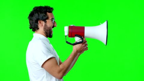 young crazy man with a megaphone
