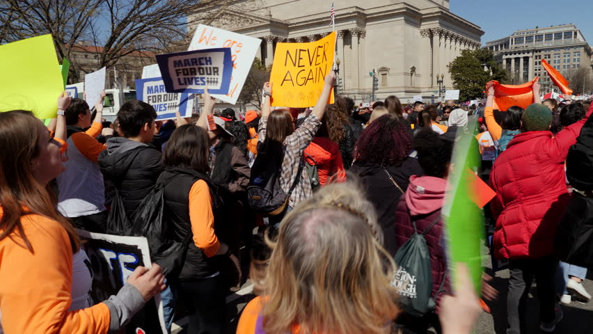 Washington, DC March 24, 2018. Tracking shot of protestors, March of Our lives Protest, Washington DC, 3 Axis Gimbal