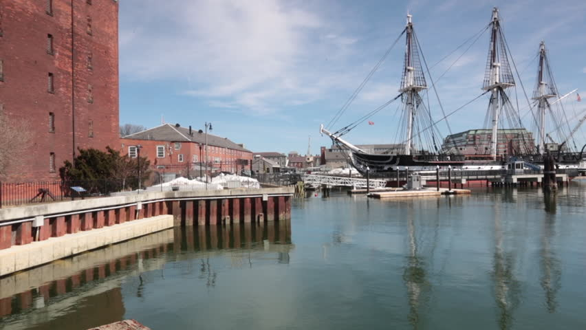 Slow pan of the historic 'USS Constitution' wooden frigate launched in 1794 in Charleston Navy Yard, Boston.