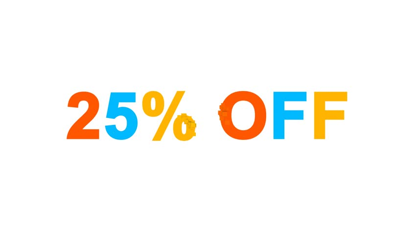 Sale label 25% OFF multi-colored appear then disappear under the lightning strikes changing color. Alpha channel Premultiplied - Matted with color black | Shutterstock HD Video #1009352792