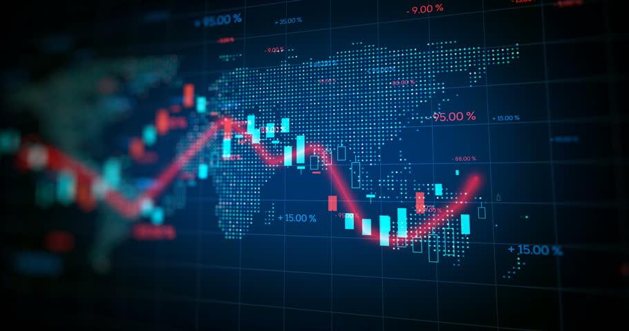 4k loop financial chart and stock market bar chart for use as  financial report and stock market presentation