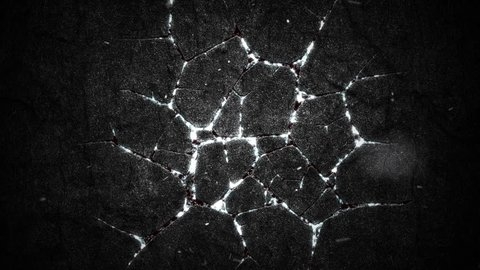 Abstract background with animation of burning fire or lava from cracks on stone surface and flying glowing particles. Animation of seamless loop.