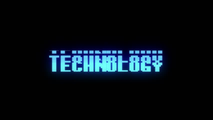 Retro videogame TECHNOLOGY word text computer old tv glitch interference noise screen animation seamless loop New quality universal vintage motion dynamic animated background colorful joyful video | Shutterstock HD Video #1009460402