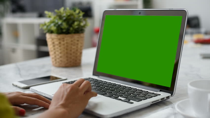Woman hand using laptop with key green screen. Lady hand typing on a laptop computer. | Shutterstock HD Video #1009465172
