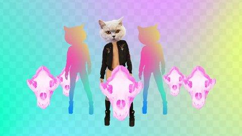 Minimal Motion design art. Dancing Sexy Cat